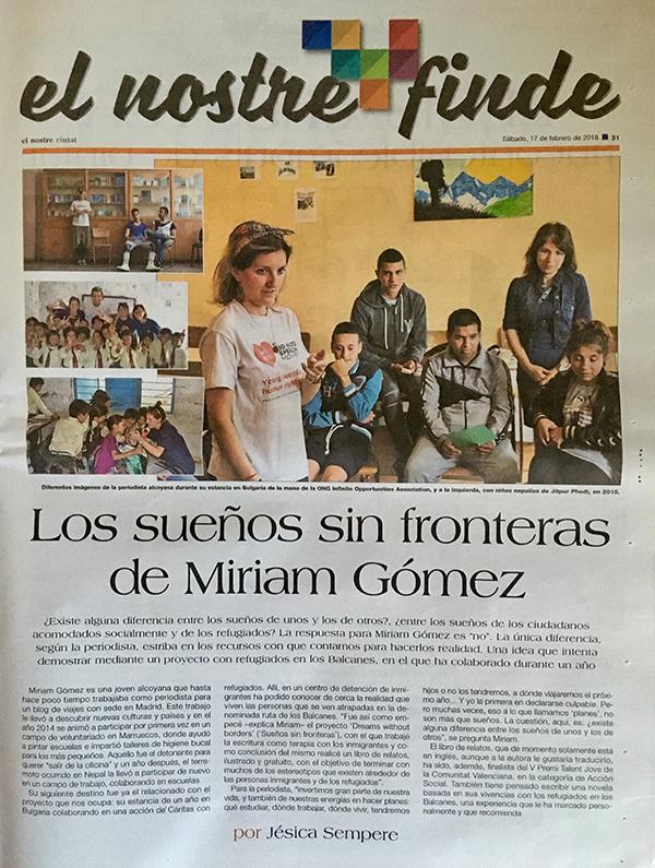"""Entrevista a Miriam Gómez en """"El nostre"""""""