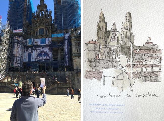 Ilustración de Santiago de Compostela de Fernando Gaforio