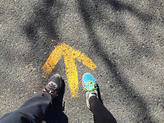 Flecha en el suelo indicativa del Camino de Santiago.