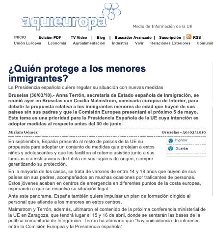"""Artículo publicado en el periódico """"Aquí Europa"""""""