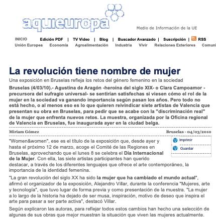 """Artículo publicado en el periódico """"Aquí Europa""""."""